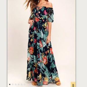Lulus Infinite Love Off Shoulder Blue Maxi Dress